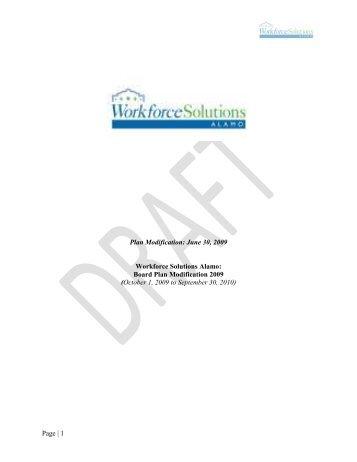 Board Plan Modification 2009 - Workforce Solutions Alamo