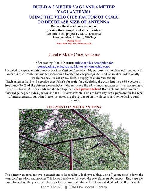 BUILD A 2 METER YAGI AND 6 METER pdf - N3UJJ