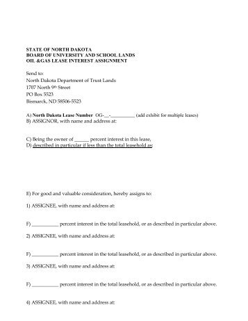 Assignment Form for Oil and Gas Lease - State Lands Commission ...