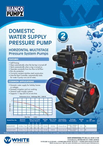 domestic water supply pressure pump - Bianco Pumpz