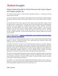 Global Sodium Hypochlorite Market Research and Analysis Report 2015 Radiant Insights, Inc
