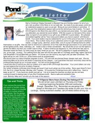 December Newsletter - Pond Pro Shop Water Garden Store