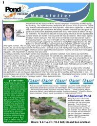May 2012 Newsletter for the web - Pond Pro Shop Water Garden Store