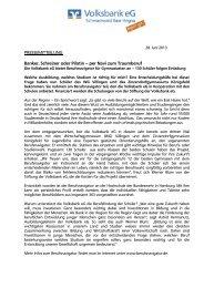PRESSEMITTEILUNG Banker, Schreiner oder ... - Volksbank eG