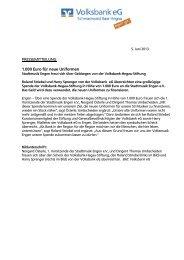 PRESSEMITTEILUNG 1.000 Euro für neue Uniformen - Volksbank eG