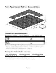 Terra Aqua Gabion Mattress Standard Sizes