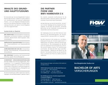 BACHELOR OF ARTS VERSICHERUNGEN - BWV Hannover