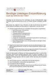 Benötigte Unterlagen Erstzertifizierung - ZERTPUNKT GmbH