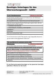 Benötigte Unterlagen für das Überwachungsaudit - AZWV