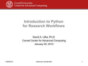 Introduction to Python for Research Workflows - Cornell University ...