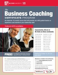 Business Coaching - North Carolina State University