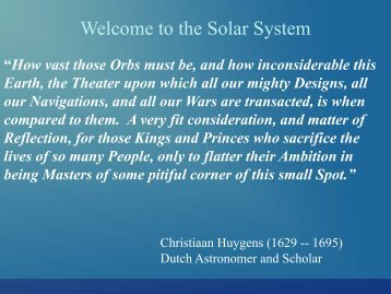 Intro to the Solar System - Ann Arbor Earth Science