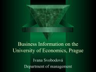 Business Information on the University of Economics, Prague