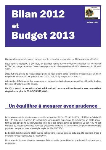 Bilan 2012 - Budget 2013 - CE Snecma Gennevilliers