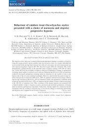 Behaviour of rainbow trout Oncorhynchus mykiss presented with a ...