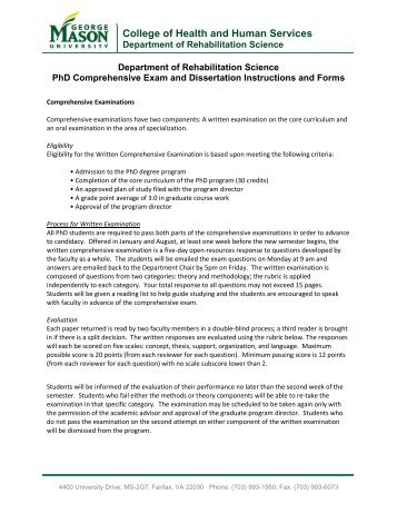 Comprehensive exam and dissertation services or