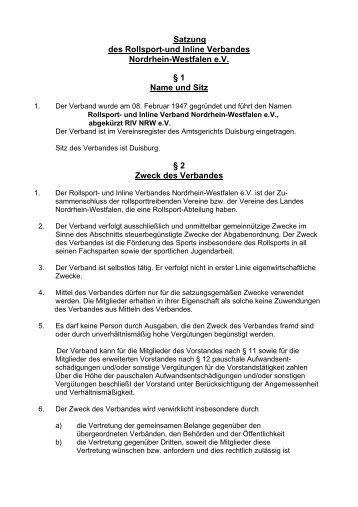 Satzung des Rollsport-und Inline Verbandes Nordrhein-Westfalen ...