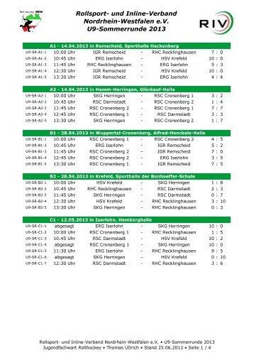 und Inline-Verband Nordrhein-Westfalen eV U9-Sommerrunde 2013