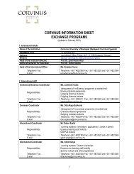 CORVINUS INFORMATION SHEET EXCHANGE PROGRAMS - WU