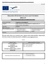ERASMUS INTENSIVE LANGUAGE COURSES - Sabanci University