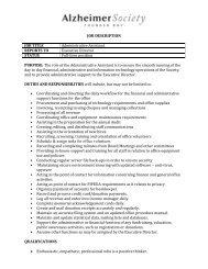 JOB DESCRIPTION JOB TITLE Administrative Assistant REPORTS ...