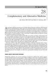 Complementary and Alternative Medicine - Integrative Sports Medicine
