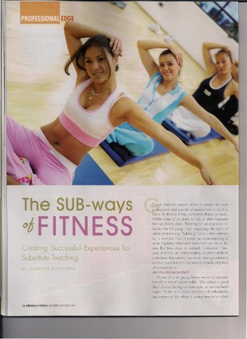The SUB-ways of Fitness: Creating Successful Experiences for ...