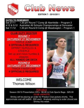WELCOME Thomas Wilson - Preston Athletic Club Inc
