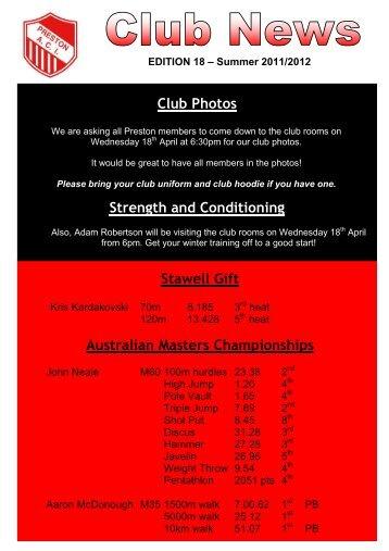 Edition 18 News 2011-2012 - Preston Athletic Club Inc