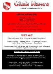 Club News - Edition 6 Summer 2012-2013 - Preston Athletic Club Inc