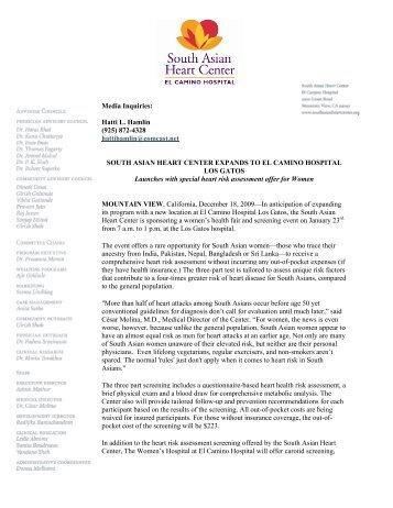 South Asian Heart Center Expands to El Camino Hospital Los Gatos ...
