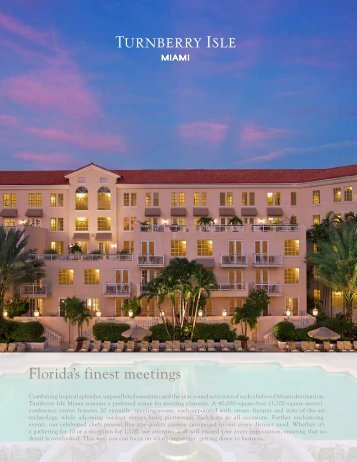 Meetings Brochure with Floor Plans Capacity - Turnberry Isle Miami