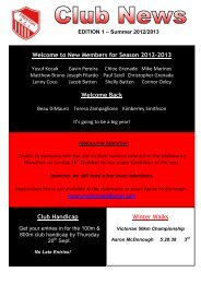 Club News - Edition 1 Summer 2012-2013 - Preston Athletic Club Inc