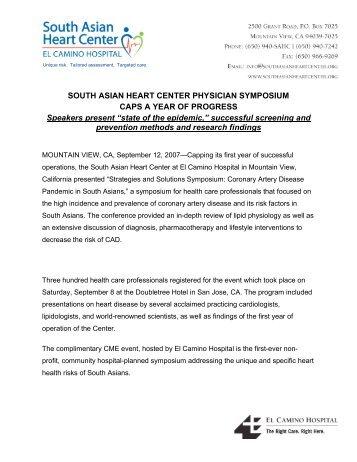 SOUTH ASIAN HEART CENTER PHYSICIAN SYMPOSIUM CAPS A ...