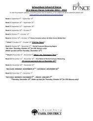 Schaumburg School of Dance 2013-2014 Calendar