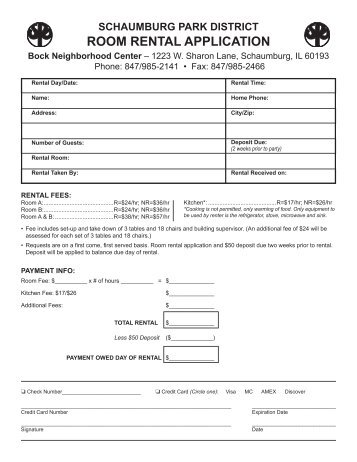 Party Room Rental Application - Parkfairfax