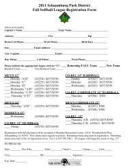2011 Schaumburg Park District Fall Softball League Registration Form