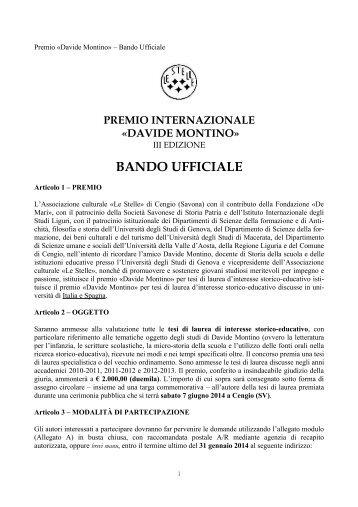 premio davide montino - terza edizione - Scienze della Formazione