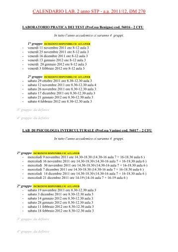 CALENDARIO LAB. 2 anno STP - a.a. 2011/12, DM 270