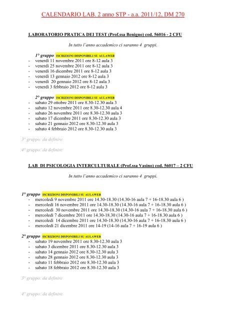 Calendario Medicina Unige.Calendario Lab 2 Anno Stp A A 2011 12 Dm 270