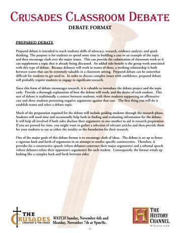 Crusades Classroom Debate. Mini Debate Format   ProQuest