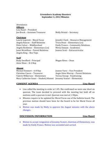 CONSENT AGENDA Lisa Hazel DISCUSSION/INFORMATION Lisa ...