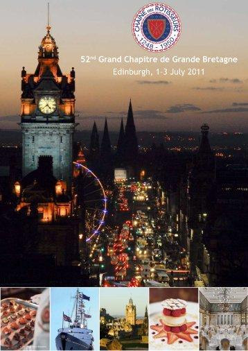 52nd Grand Chapitre de Grande Bretagne Edinburgh, 1–3 July 2011