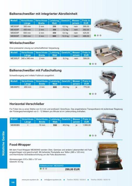 Maschinen & Geräte - Pro-System Verpackungstechnik GmbH