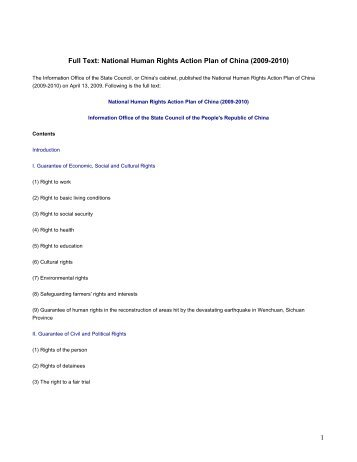 National Human Rights Action Plan of China (2009-2010) - DHnet