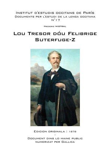 Lou Tresor dóu Felibrige Suterfuge-Z - IEO París - Free