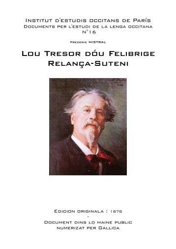 Lou Tresor dóu Felibrige Relança-Suteni - IEO París - Free
