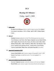SGA Meeting #23 Minutes Friday, April 3, 2009