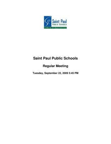 BOE 9/22/09 - The Saint Paul Board of Education - St. Paul Public ...