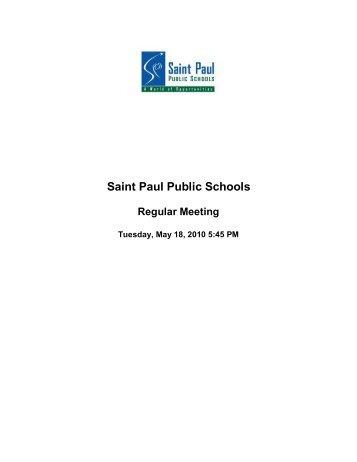 5/18/10 - The Saint Paul Board of Education - St. Paul Public Schools